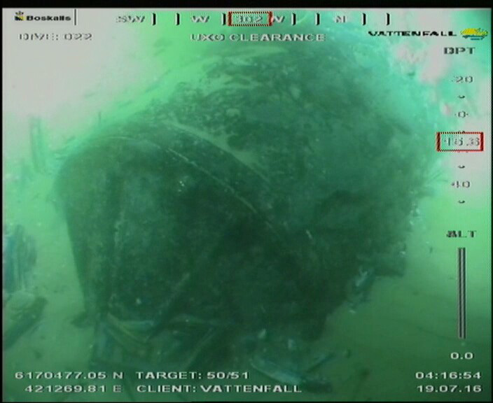 A look at a mine at Horns Rev 3 through the ROV's camera
