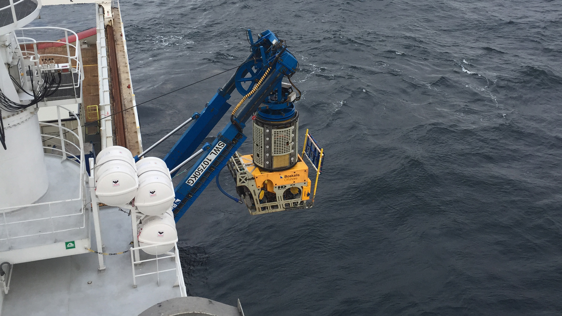Launching of the remotely operated vehicle at Horns Rev 3