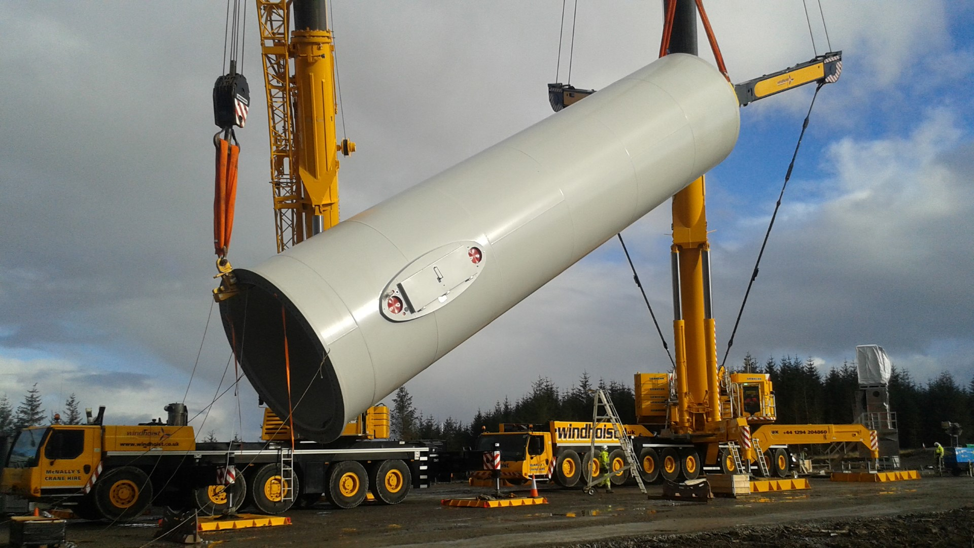 Pen y Cymoedd Wind Farm turbine component being lifted into place
