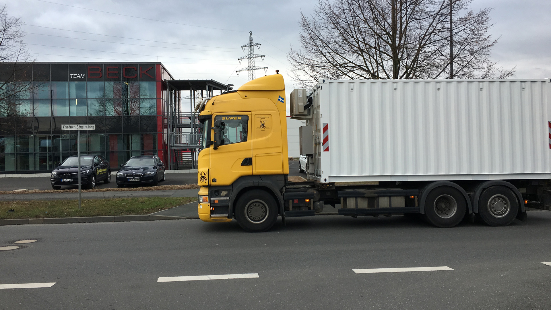 The battery storage facility is being transported by truck through Germany and Sweden running on biodiesel.