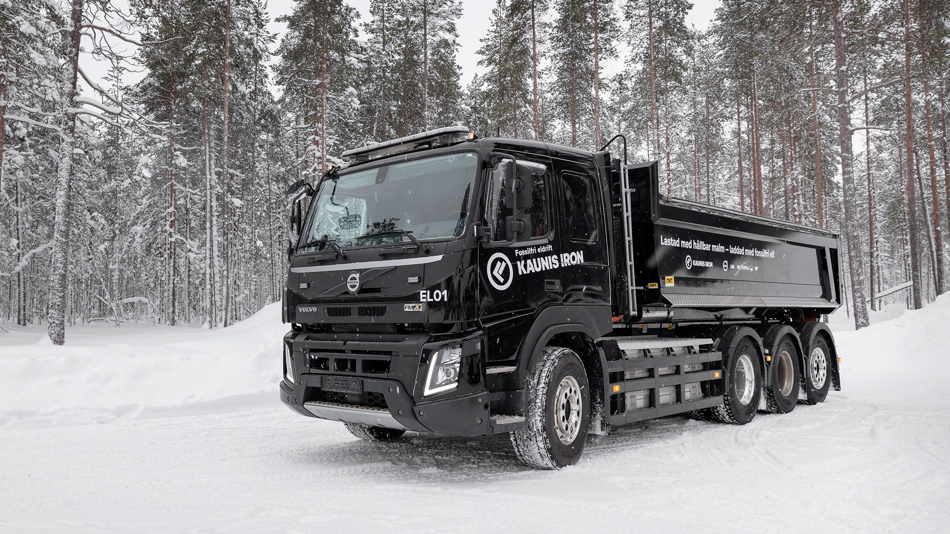 A Volvo electric truck tested at the Kaunis Iron mining company.