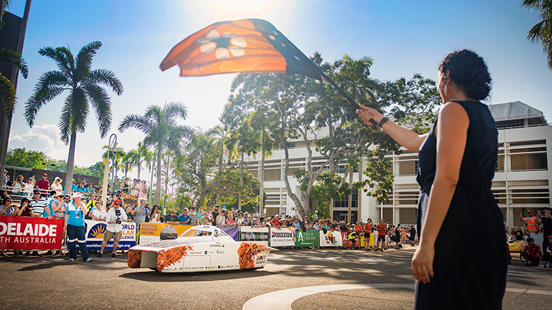 The Vattenfall Solar car NunaX competing in the Bridgestone World Solar Challenge.