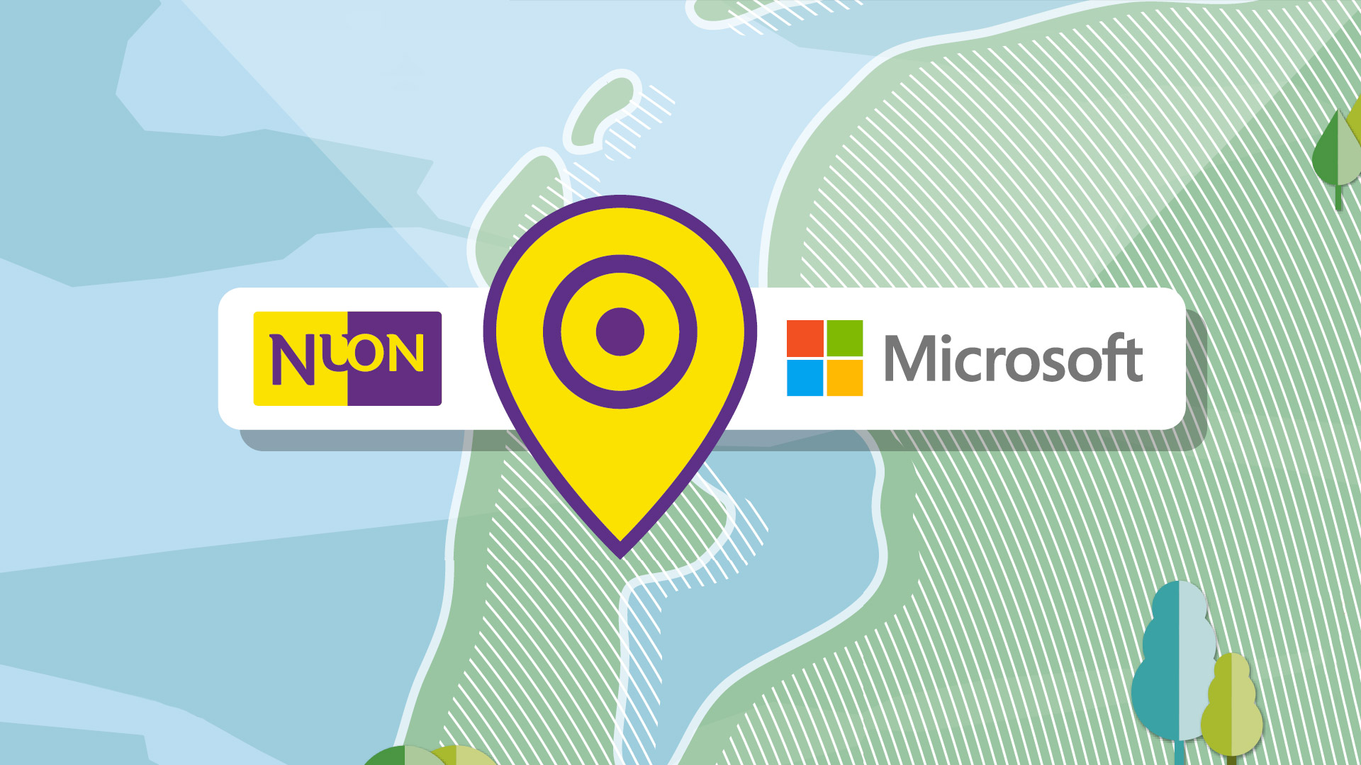 Illustration med Nuons og Microsofts logotyper