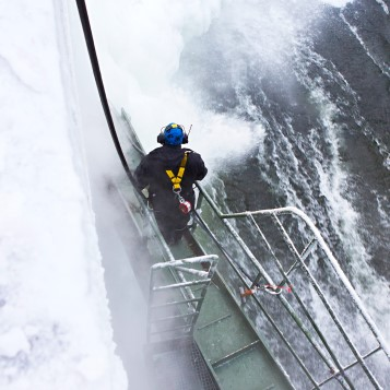 An employee working in icy conditions at Boden hydro power station