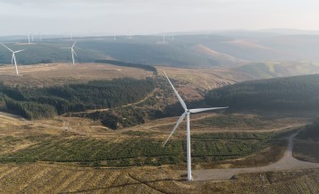 Aerial photo of a wind farm with several wind turbines located in a lush green landscape.