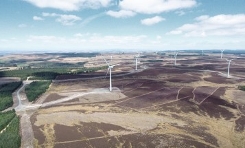 Image of Ray wind farm, areal photo showing wind turbines in a green lanscape.