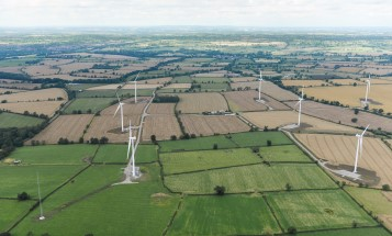 Areal photo of wind turbines in a green landscape.