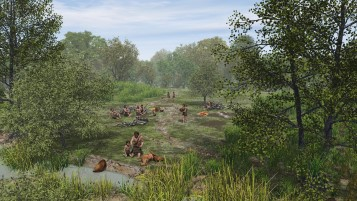 Reconstruction showing mesolithic hunters by waterside as might have been in Doggerland
