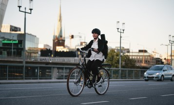 Woman riding an electric bike