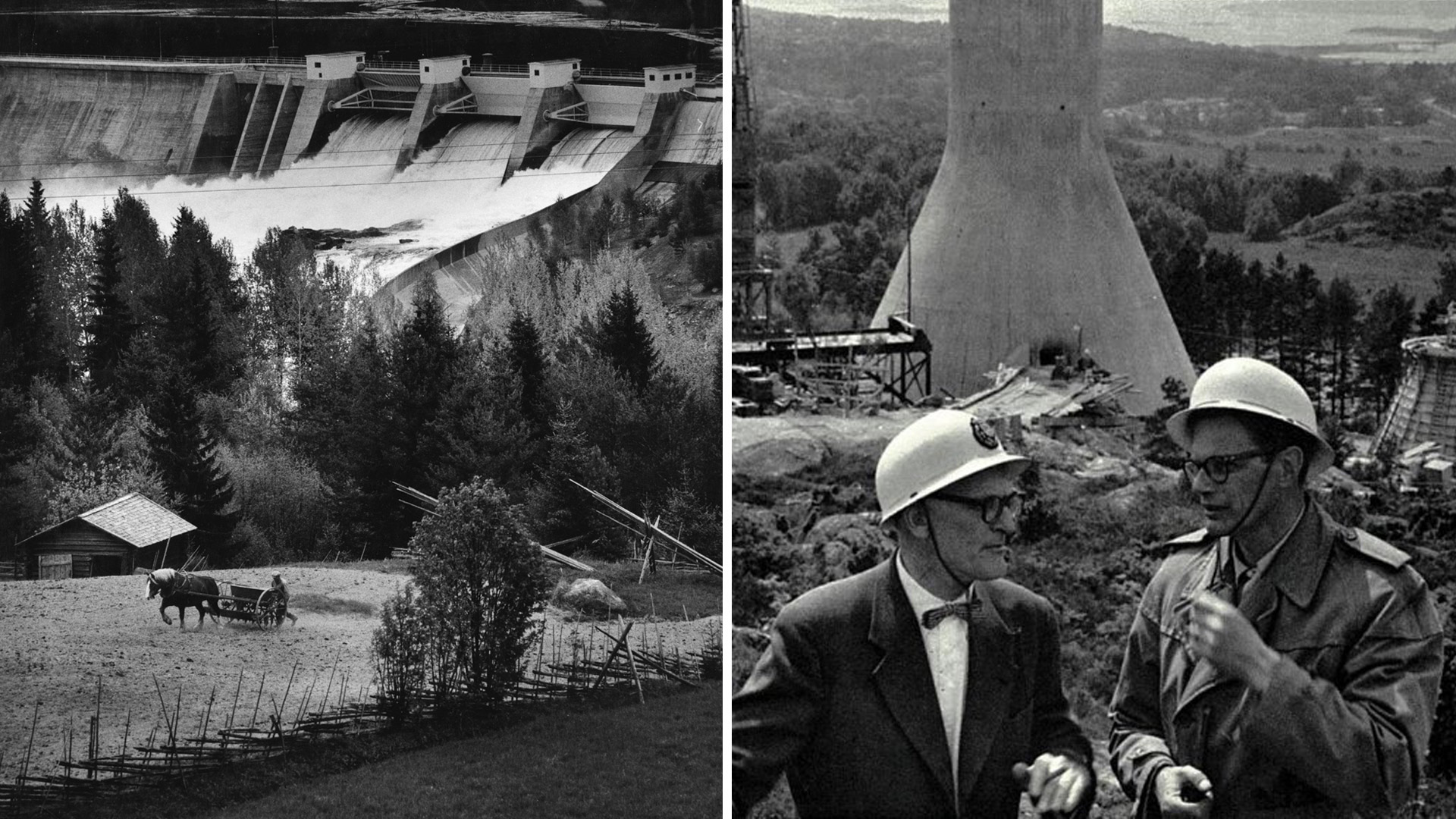 Black and white photos - a man and a horse at the Stadsforsens hydro power plant, and two men smoking at Stenungsundsverket. Photo: Lennart Nilsson