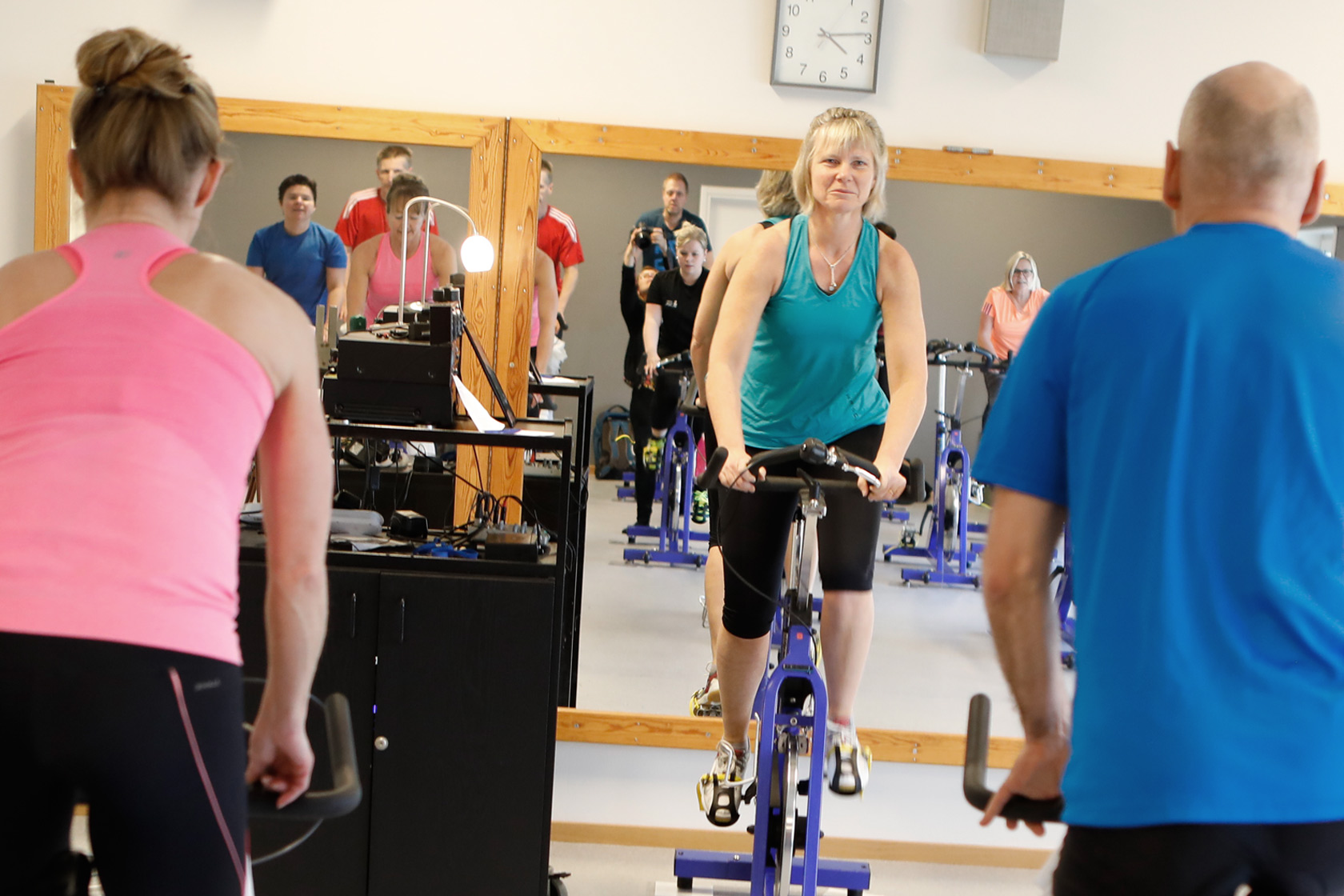People exercising in a spin class