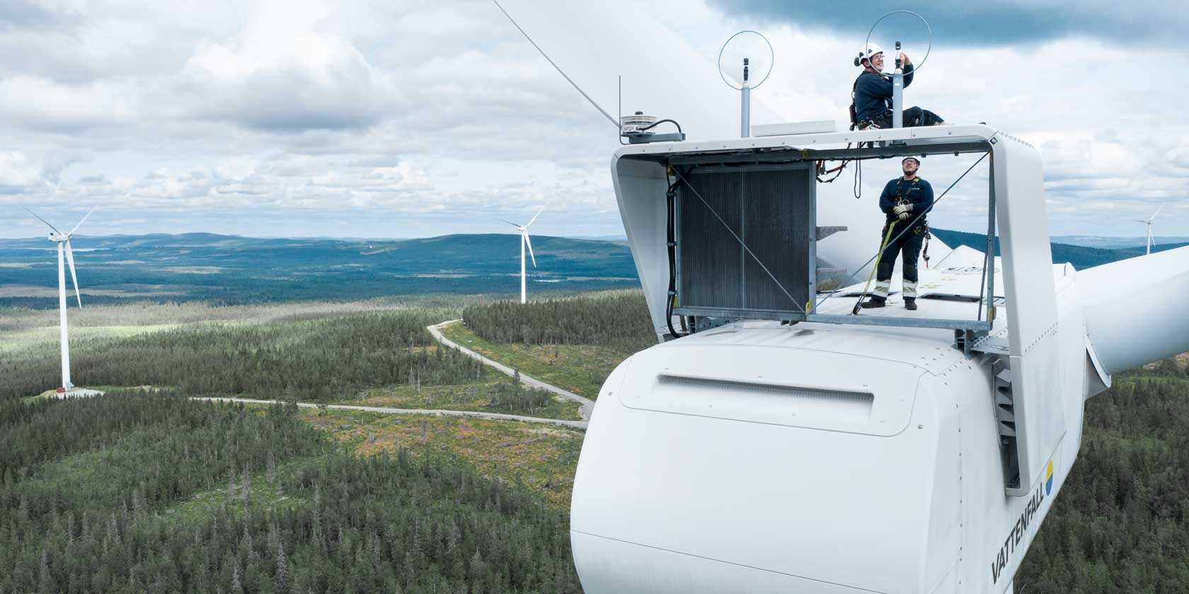 Wind employees at the Stor-Rotliden wind farm in Sweden