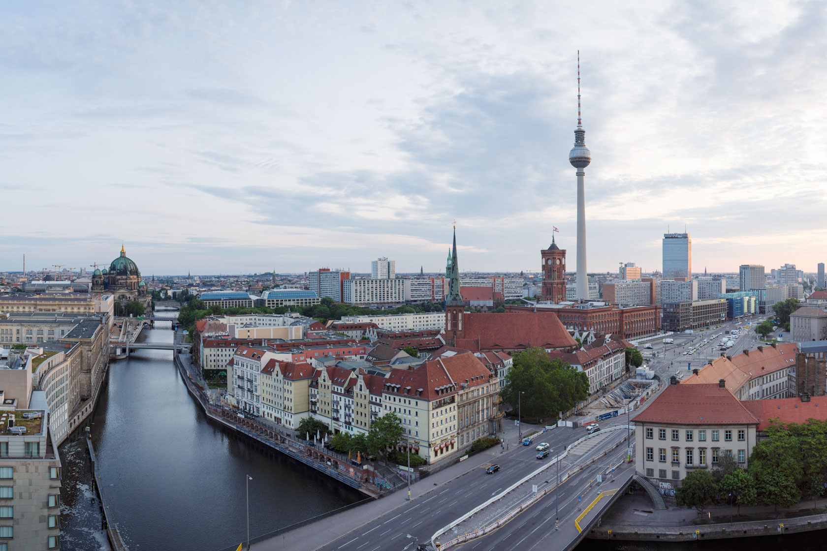 The television tower and other buildings in Berlin