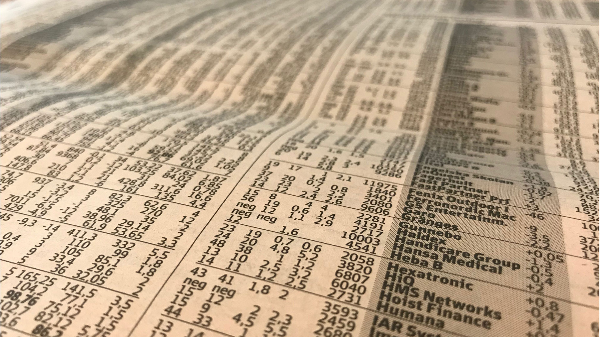 The stock market pages in a newspaper