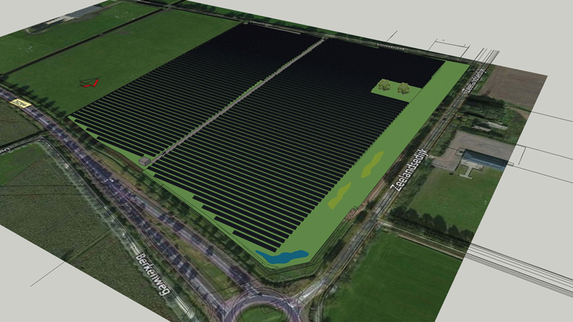 Artists impression of a solar park